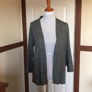 Gray cardigan with stud detailing